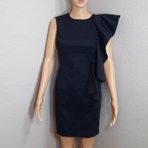 French Connection Draped Ruffle Bodycon Dress Sz 2